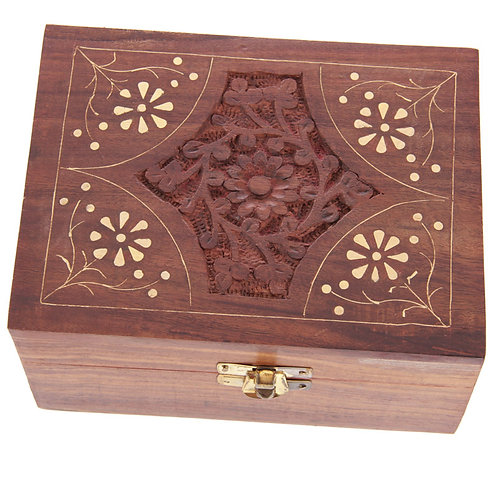 Decorative Sheesham Wood Floral Compartment Box Medium