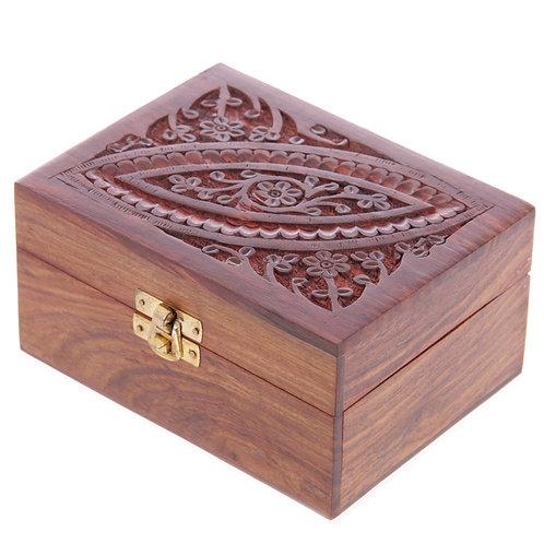 Decorative Sheesham Wood Carved Compartment Box Medium