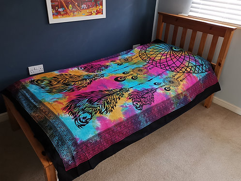 Single/Double Cotton Bedspread + Wall Hanging - Dreamcatcher