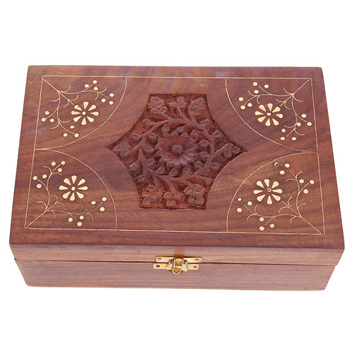 Decorative Sheesham Wood Floral Compartment Box Large