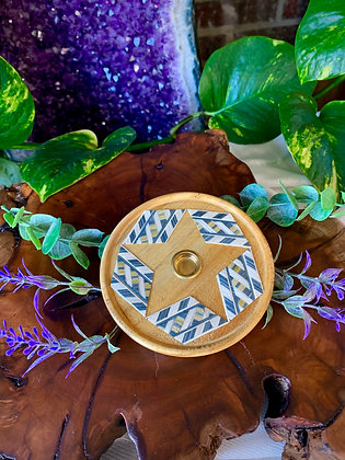 Geometric Wooden Cone Incense Burner with Brass Inlay