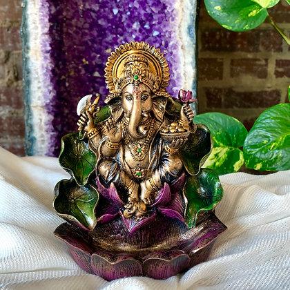 Ganesha Cast Resin Backflow Incense Burner