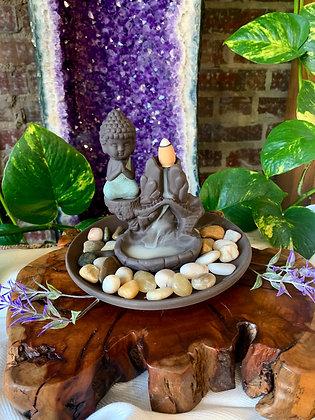 Meditating Buddha Ceramic Backflow Incense Burner
