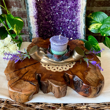 Lotus Blessings Cast Resin Candle Holder