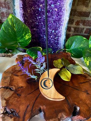 Crescent Moon Wooden Incense Burner