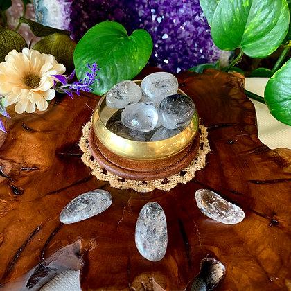 Graphite Quartz Tumbled Stones