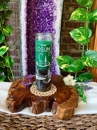 Orisha Ogun Seven Day Candle (Green + Black)