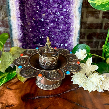 Meditating Buddha Copper Incense Burner