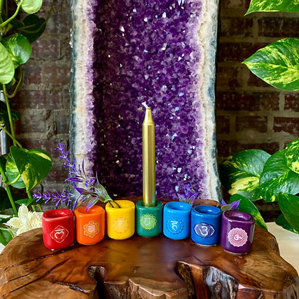 Chakra Porcelain Spell Candle Holders