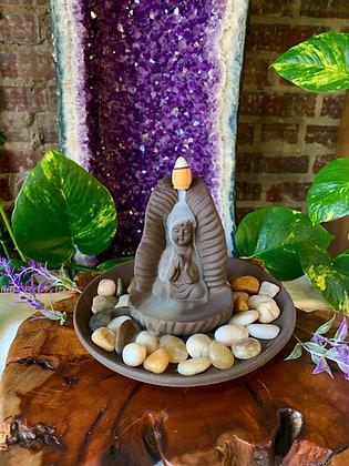 Buddha on a Leaf Ceramic Backflow Incense Burner