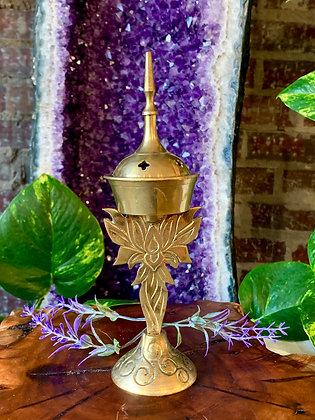 Brass Lotus Cone Incense Burner