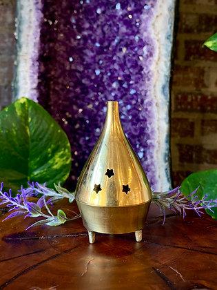 Star Cutout Brass Cone Incense Burner
