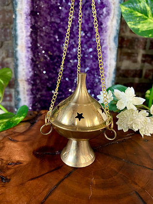 Star Cutout Hanging Brass Cone Incense Burner