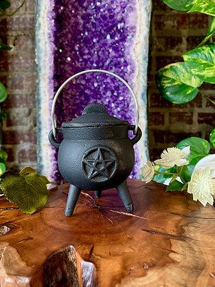 Cast Iron Pentacle Cauldron (Small)