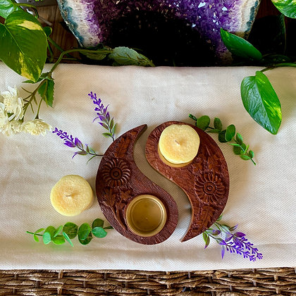 Yin Yang Carved Wooden Candle Holder
