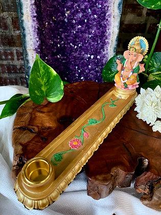 Ganesha Hand-painted Cast Resin Incense Burner & Candle Holder
