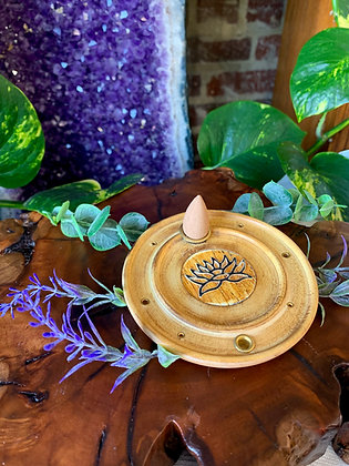 Lotus Wooden Cone & Stick Incense Burner with Brass Inlay