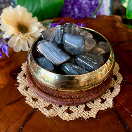 Black Moonstone Tumbled Stones