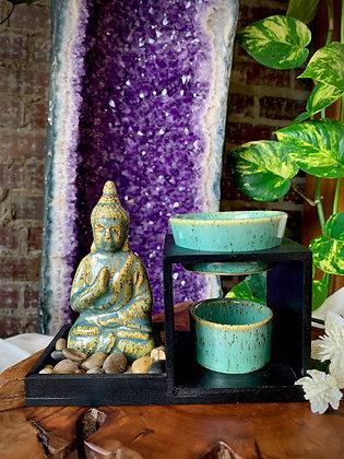 Abhaya Mudra Buddha Ceramic Oil Burner (Teal)