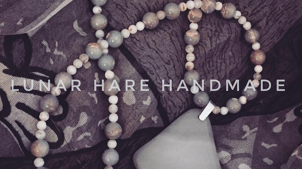 Blue-Gray Agate Pendant Necklace