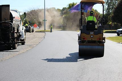 rolling fresh asphalt