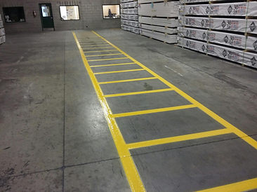 Line striping in warehouse