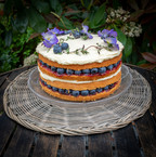 kates kakes blueberry victoria sandwich with edible flowers