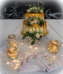 kates kakes golden drip wedding cake