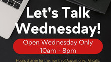 We're closed today! Our hours have Changed for August 👀 We're  open Wednesday's Only!