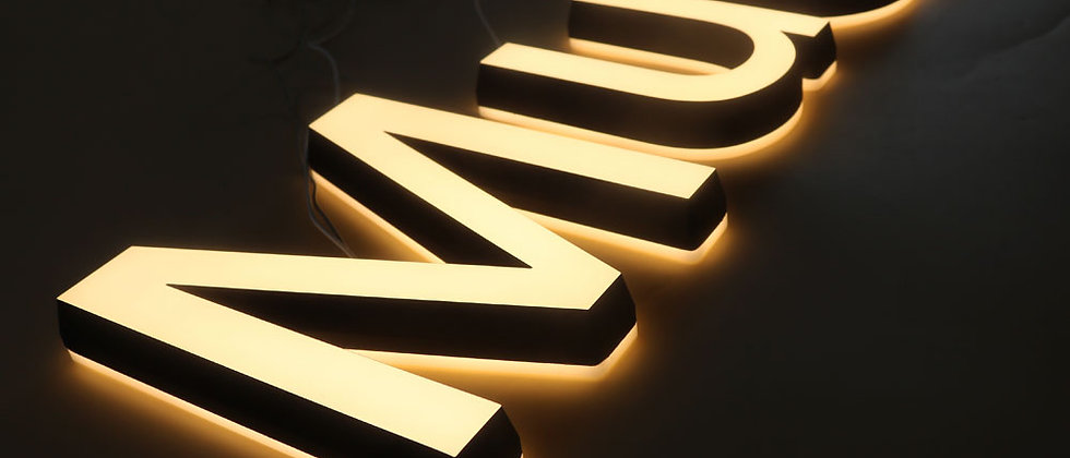 Warm light Double side lighted acrylic cut sign letters for store led signs
