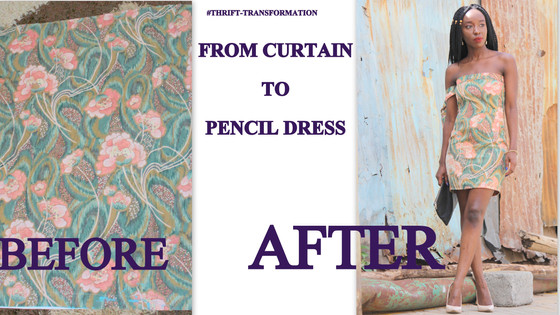THRIFT TRANSFORMATION: PROJECT # 34: FROM CURTAIN TO PENCIL DRESS| Aimies Closet
