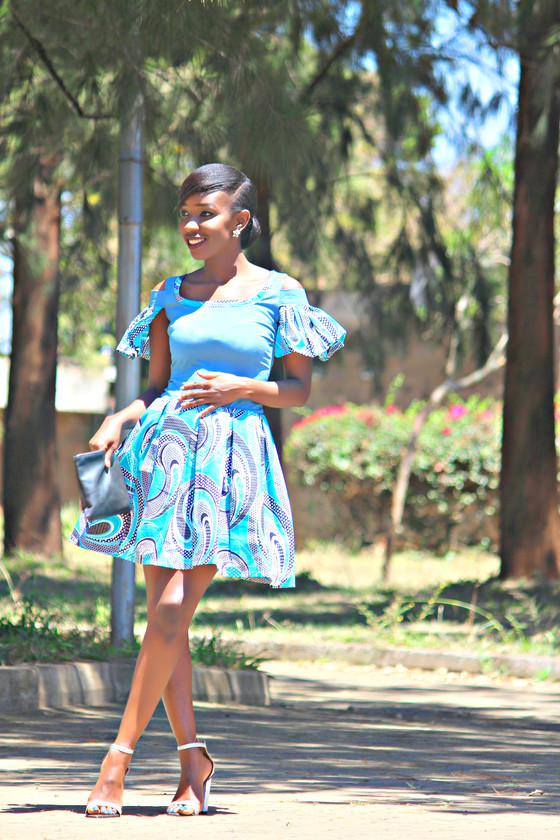 THRIFT TRANSFORMATION: PROJECT #19|Turquoise Ankara Skater Dress