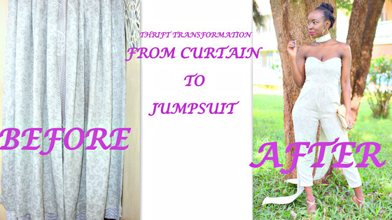 THRIFT TRANSFORMATION: PROJECT # 33: FROM CURTAIN TO JUMPSUIT| Aimies Closet
