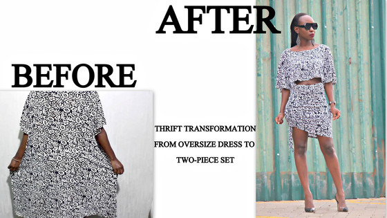 THRIFT TRANSFORMATION: PROJECT #39-FROM OVERSIZED DRESS TO TWO-PIECE SET |Aimies Closet