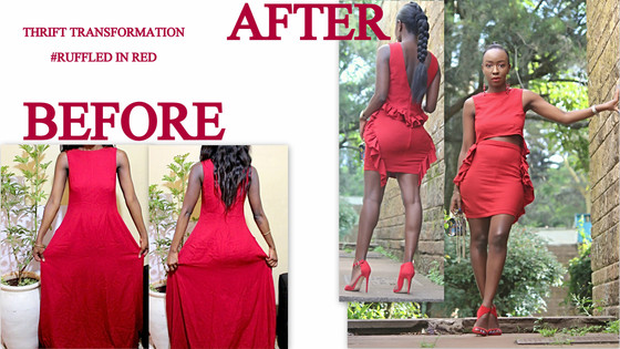 THRIFT TRANSFORMATION: PROJECT #38-RUFFLED IN RED|Aimies Closet