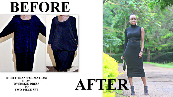 THRIFT TRANSFORMATION: PROJECT # 37: FROM OVERSIZE DRESS TO TWO-SET PENCIL SET|Aimies Closet