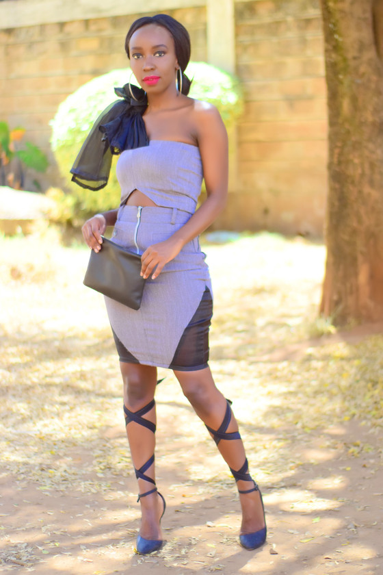THRIFT TRANSFORMATION: PROJECT # 29: Grey Two-Piece with Sheer sides| Aimies Closet