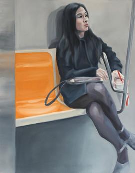 Woman With Fountain Soda, 1 Train, Manhattan