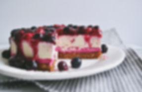 red velvet vegan berry cheezecake