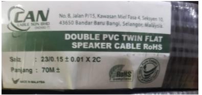 2C x23 Pvc Cable(Black) 70mtr