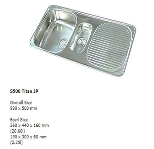 990 x 500 x 160mm S/S Double Bowl Sink