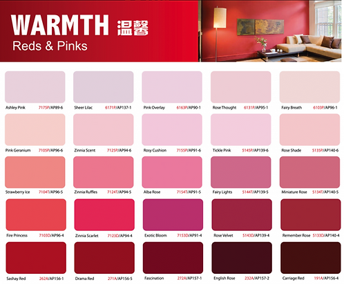 Ion Paint Reds & Pinks Catalogue