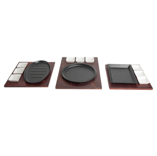 Sizzler Plates With 3 Dip Bowls