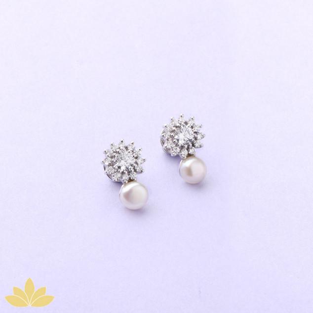 E023 - Flower Studs with Pearl Drop Earrings