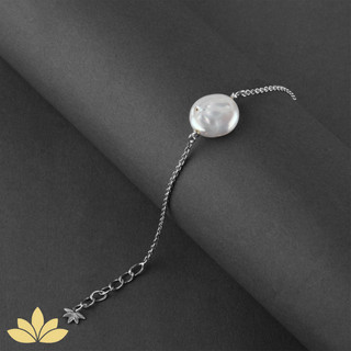 B036 -  Baroque Pearl Bracelet with Silver Chain