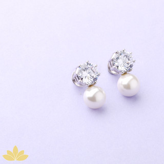 E031 - Solitaire with Pearl Drop Earring