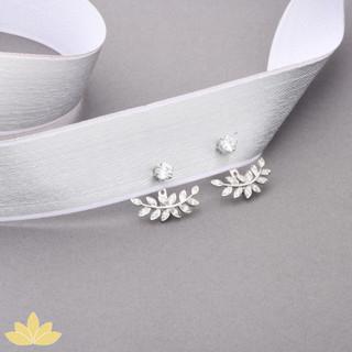 E009 - Silver Leaf Jacket Earrings