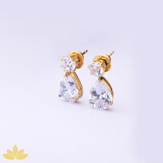 E015 - Gold Drop Solitaire Earring