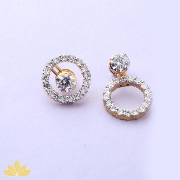E020 - Gold Big Round Jacket Earring