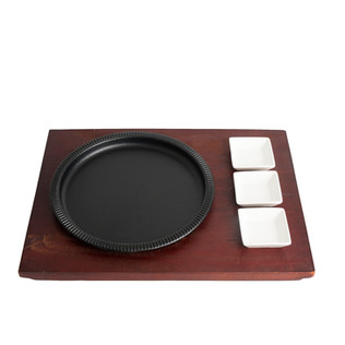 Round Sizzler Plate With 3 Dip Bowls